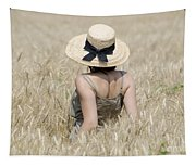 Woman On The Wheat Field Tapestry