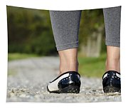 Woman Standing On A Stone Road Tapestry