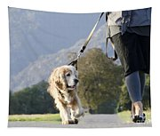 Woman Walking With Her Dog Tapestry