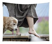 Woman With A Skirt And A Dog Tapestry