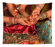 Women With Decorated Hands Holding Hands In A Hindu Religious Ceremony Tapestry