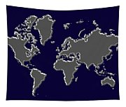 World Map Silver Tapestry