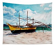 Yellow Boat Docking On The Shore Tapestry