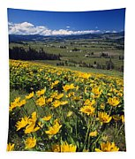 Yellow Flowers Blooming, Hood River Tapestry