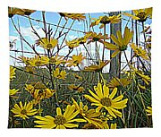 Yellow Flowers By The Roadside Tapestry