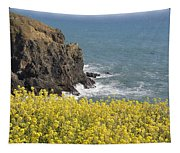 Yellow Flowers On The Northern California Coast Tapestry