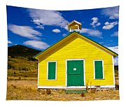 Yellow Western School House Tapestry