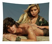 Young Beautiful Couple At The Beach Tapestry