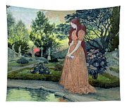 Young Girl In A Garden  Tapestry