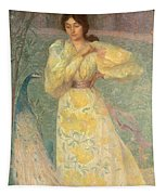 Young Girl With A Peacock Tapestry
