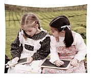 Young Girls Doodling Tapestry