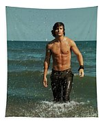 Young Man Walking Out Of The Water Tapestry