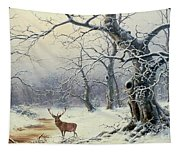 A Stag In A Wooded Landscape  Tapestry