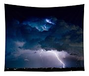 Clouds Of Light Lightning Striking Boulder County Colorado Tapestry