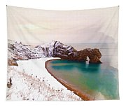 Illustration Of  The Durdle Door In Snow Tapestry