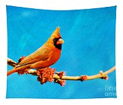 Male Northern Cardinal Perched On Tree Branch Tapestry