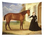 Portrait Of A Lady With Her Horse Tapestry
