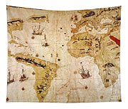 Vespucci's World Map, 1526 Tapestry