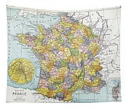 Map Of France, C1900 Tapestry