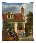 A Group At The Site Behind A House Tapestry