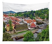 A View Overlooking The Vltava River And Cesky Krumlov In The Czech Republic Tapestry