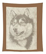 Alaskan Malamute And Pup Tapestry