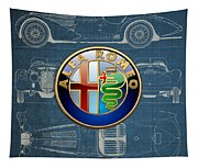 Alfa Romeo 3 D Badge Over 1938 Alfa Romeo 8 C 2900 B Vintage Blueprint Tapestry