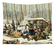 American Forest Scene Maple Sugaring Tapestry