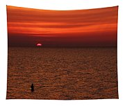 Angler In Summer Sunset Tapestry