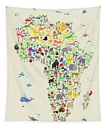 Animal Map Of Africa For Children And Kids Tapestry