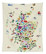 Animal Map Of Scotland For Children And Kids Tapestry