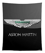 Aston Martin 3 D Badge On Black  Tapestry
