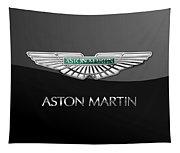 Aston Martin 3 D Badge On Black  Tapestry