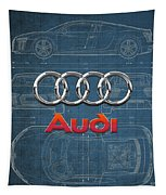 Audi 3 D Badge Over 2016 Audi R 8 Blueprint Tapestry