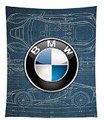 B M W 3 D Badge Over B M W I8 Blueprint  Tapestry