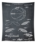 Basketball Patent 1916 Black Tapestry