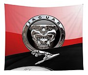 Black Jaguar - Hood Ornaments And 3 D Badge On Red Tapestry