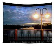 Boat, Lights, Sunset On Lady Bird Lake Tapestry