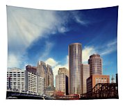 Boston Skyline 1980s Tapestry