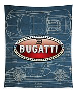 Bugatti 3 D Badge Over Bugatti Veyron Grand Sport Blueprint  Tapestry