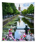 Canal And Decorated Bike In The Hague Tapestry