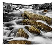 Cascading Water And Rocky Mountain Rocks Tapestry