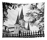 Cathedral Basilica - Square Bw Tapestry