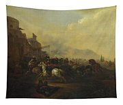 Cavalry Attacking A Fortified Place Tapestry