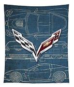 Chevrolet Corvette 3 D Badge Over Corvette C 6 Z R 1 Blueprint Tapestry