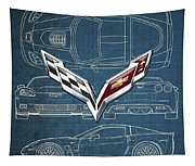 Chevrolet Corvette 3 D Badge Over Corvette C 6 Z R 1 Blueprint Tapestry