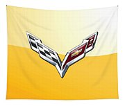 Chevrolet Corvette 3d Badge On Yellow Tapestry