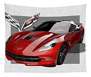 Chevrolet Corvette  C 7  Stingray With 3 D Badge  Tapestry