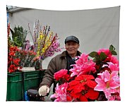 Chinese Bicycle Flower Vendor On Street Shanghai China Tapestry