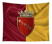 Coat Of Arms Of Rome Over Flag Of Rome Tapestry